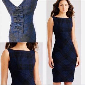 DVF Dorothea Tartan Plaid Bow-Back Dress